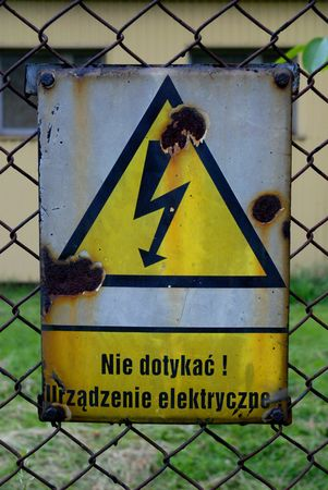 volts: Warning ! electric installation - old polish sign