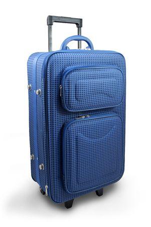 Blue travel suitcase - isolated Standard-Bild