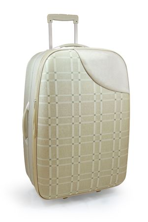luggage pieces: Beige travel suitcase - isolated Stock Photo
