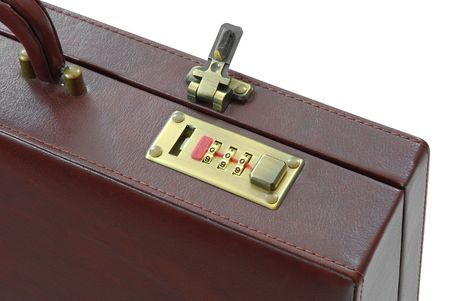 piece of luggage: Lock of brown suitcase