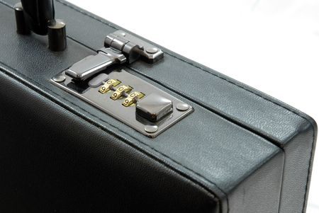 piece of luggage: Lock of black suitcase Stock Photo