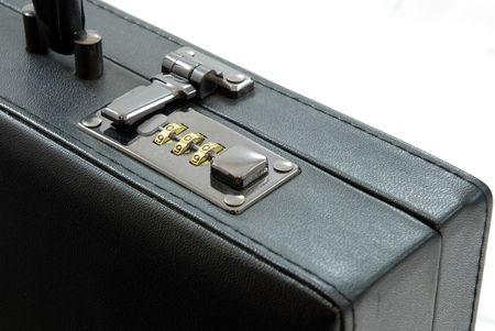 luggage pieces: Lock of black suitcase Stock Photo