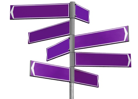 Blank purple direction sign with 7 arrows  add your text  isolated on white