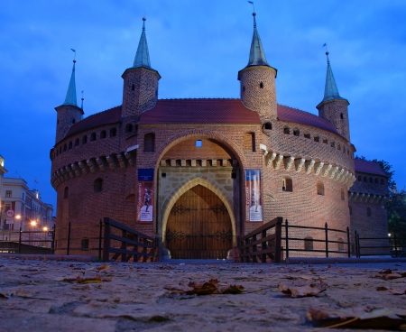 cracovia: A gate to Krakow - the best preserved barbican in Europe, Poland by night