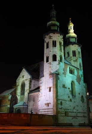 cracovia: St  Andrew s Church on Grodzka Street by night - Krakow  Poland   Stock Photo