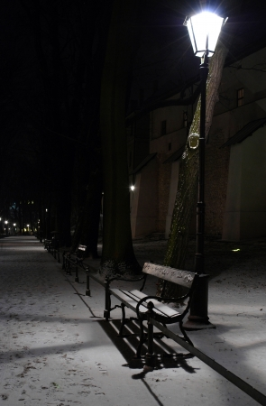 Winter evening in Planty - Krakow