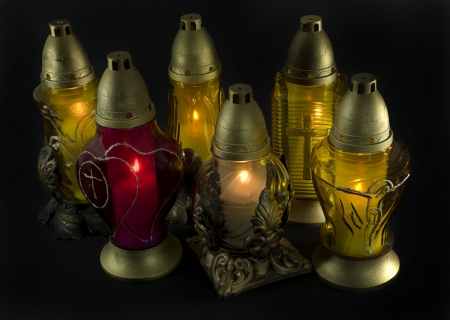 Candles - in Poland called  znicze  lit on the All Saints Day on 1rst of november