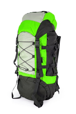 Modern tourist backpack isolated on white