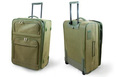 Khaki leather travel suitcase - isolated