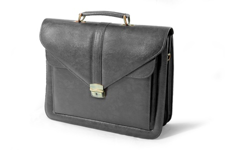 suit case: Black business suitcase - isolated
