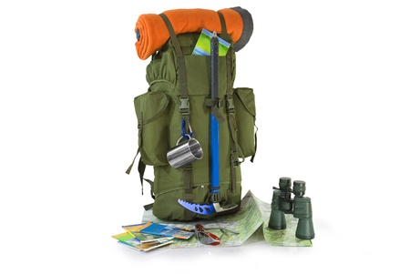 Backpack with tourist equipment - isolated on white Standard-Bild