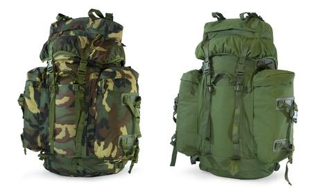 Khaki and woodland camouflage backpacks  - isolated on white Standard-Bild