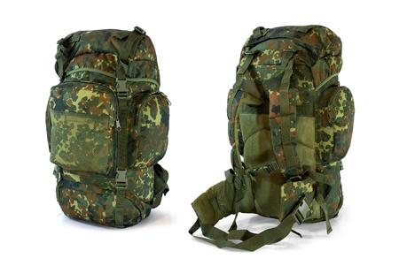 Woodland camouflage military backpack  - isolated on white