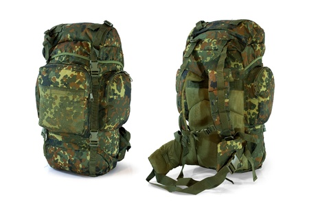 Woodland camouflage military backpack  - isolated on white photo