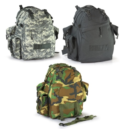 Military or survival  hunters  backpacks set isolated on white photo