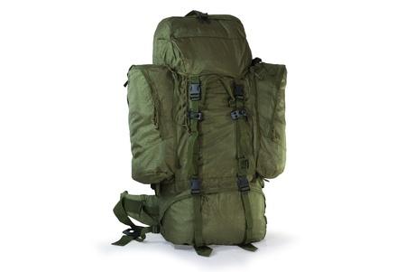 Khaki tourist backpack  - isolated on white