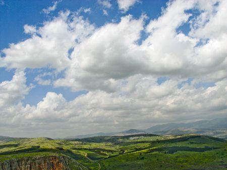 galilee: Landscape view from Mt. Arbel in Galilee