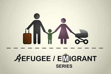 emigrant: Family of immigrants refugees. Emigrant refugee series.