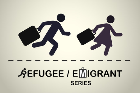 refugee: Man and woman running with suitcases. Emigrant refugee series.