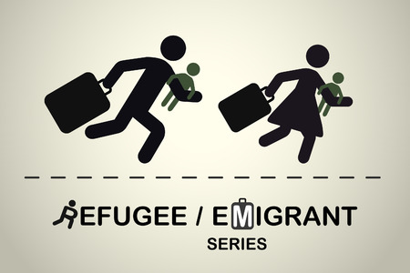 emigrant: Running people with children and suitcases. Emigrant refugee series.