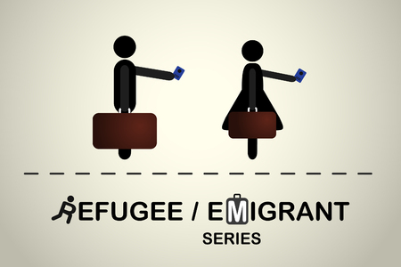emigrant: People with bag and passport. Emigrant refugee series.