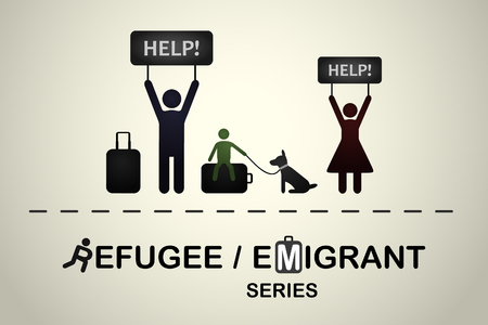 Family of refugees with a dog asking for help. Emigrant refugee series. 向量圖像