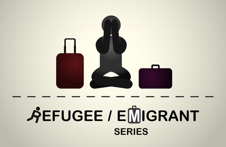 emigrant: A refugee who is sitting frustrated because of the forced emigration. Emigrant refugee series.