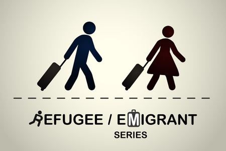 refugee: Man and woman with suitcases going on a trip. Emigrant refugee series.