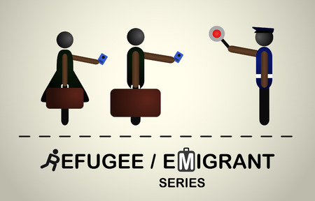 People with bags and passports at the passport control with the policeman.Emigrant refugee series.