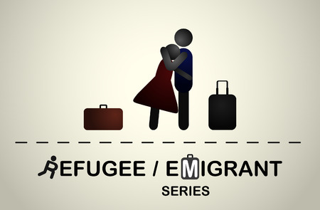 emigrant: A man hugs a girl with suitcases after a trip. Emigrant refugee series.