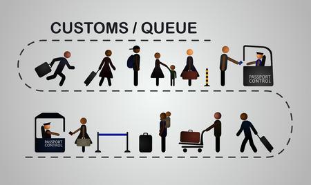 passeport: La file d'attente de personnes au contrôle des passeports, 2 lignes. Vector, EPS 10. Illustration