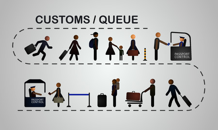 female cop: The queue of people at the passport control, 2 lines. Vector, EPS 10.