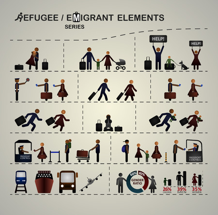 migrant: Set of elements for infographics about immigration refugees. Illustration