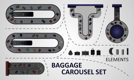 baggage: Five different types of baggage carousel constructions. Illustration includes: carousel plates, bags, baggage carousels.