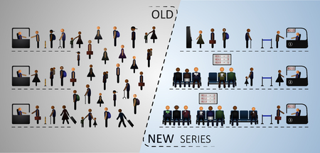 old new: The concept of the traditional and the electronic queue in comparison.  Illustration includes people and elements of a queue. Old new series.