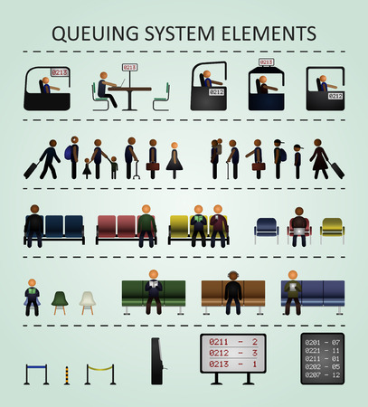 queuing: Queuing system elements. Illustration includes the following elements: people, chairs, offices, scoreboards and barriers. Illustration