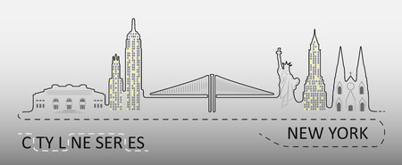 Popular New York City Architecture. Illustration is made in the form of lines and elements of each object. City line series Illustration