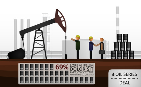 performed: Manufacturers make a deal with businessman. Illustration performed on the gray background of an oil refinery Illustration