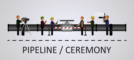 performed: The opening ceremony of the pipeline with the people. Illustration performed on a gray background with isolated objects. EPS 10
