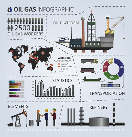 oil and gas industry: Oil gas industry infographic. Illustration contains template elements for creating infographics. Oil gas series
