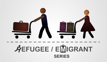 refugee: The man and woman move with luggage on the cart.  Illustration created on the grey background. Emigrant  refugee series
