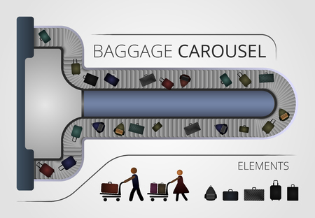 includes: The Baggage carousel construction. Illustration includes people and baggage elements Illustration
