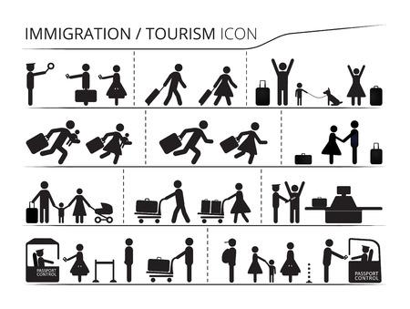 Il set di icone sul tema dell'immigrazione e del turismo. Serie Emigrant / i rifugiati