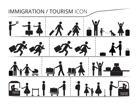 The set of icons on the theme of immigration and tourism. Emigrant  Refugee series Illustration