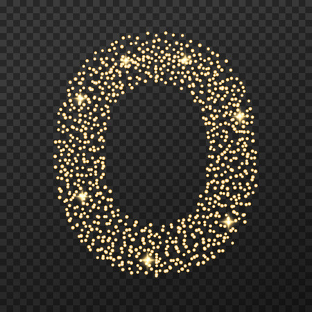 Gold glittering number five . Vector shining golden font figure lettering of sparkles on transparent background. Иллюстрация