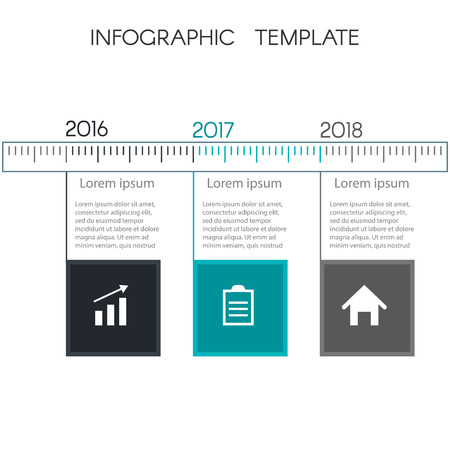 Colorful timeline infographic from squares. Template for graphics, presentation, business, web design, reports. Chart with 3 steps. With space for text and icons. Slide Template
