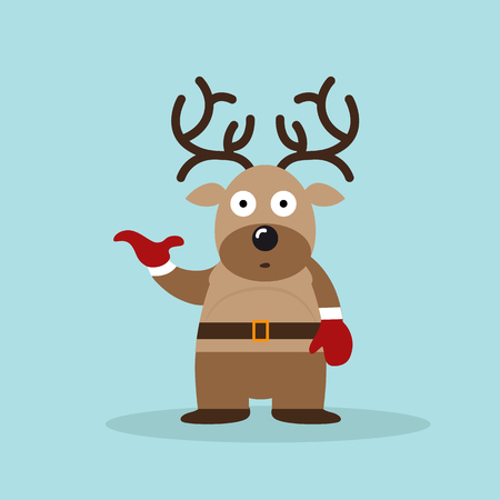 Reindeer. Vector xmas drawing of funny reindeer. Christmas card illustration.