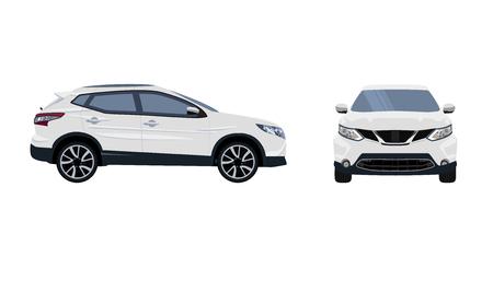 스포츠카. 검은 바퀴와 흰색 SUV 자동차의 벡터 이미지. 단색, 평면 색상 디자인. 아니 간단한 그라디언트. 아니 그라디언트 메쉬입니다.