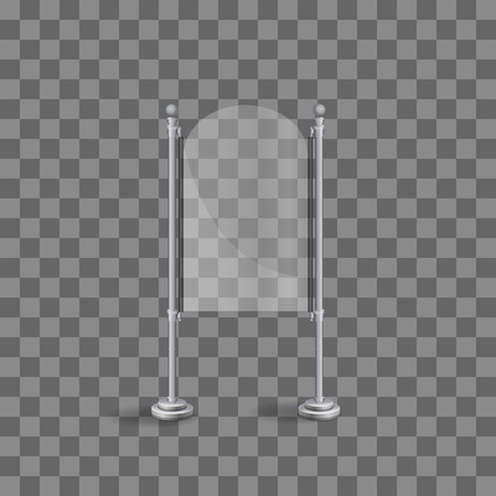 Transparent glass plate mock up. Transparent background. Graphic design element. Photo realistic vector illustration  イラスト・ベクター素材