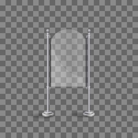 Transparent glass plate mock up. Transparent background. Graphic design element. Photo realistic vector illustration Illusztráció